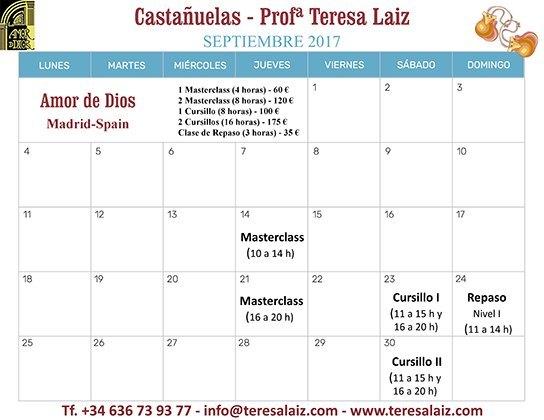 Master Class y Cursillos de Castañuelas, profesora Teresa Laiz