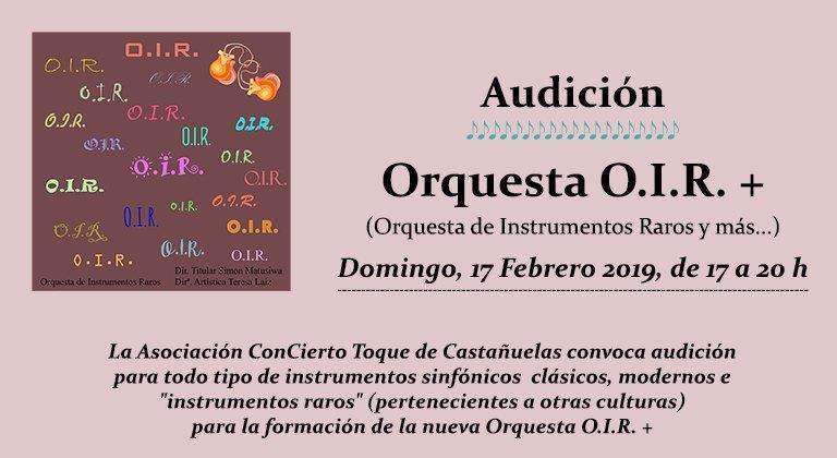 Audición Orquesta de Instrumetos Raros O.I.R.+