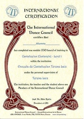 Diploma Escuela de Castañuelas Teresa Laiz Unesco